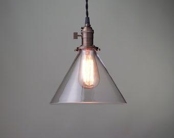 Edison Pendant Light - Glass Cone - Industrial Style Pendant - Hanging Light - Retro Pendant