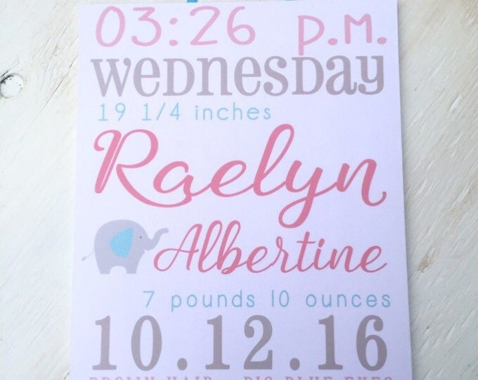 Baby Stats Signs LoveLettersForGracie – Birth Announcement Signs