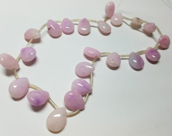 Lavender Purple and Off White  Jade Smooth  Briolette Beads 18mm
