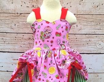 Strawberry Shortcake Inspired Dress, Shortcake, Peek a Boo Dress, Girls Dress, Summer Dress
