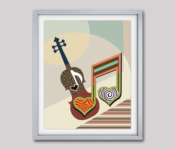 Violin Music Art, Music Inspired Art, Abstract Music Art Violin, Gift for Music Lover, Music Related Art, Violin Poster