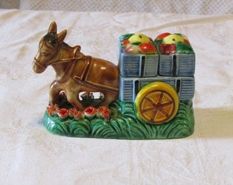 Vintage donkey pulling a cart  salt and pepper shakers Japan