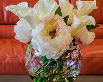 White Finest Silk Peony Real Touch Calla Lily Round Glass Vase Artificial Faux Arrangement for Home Decor