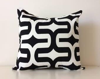 "Geometric Black and White Pillow Cover, 20x20"", Mod, Contemporary Accent Pillow, Premier Prints, Trellis, Lattice Pattern Cushion Cover,"