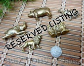 RESERVED LISTING 2 Brass Animals Rhinoceros & Lion only Miniature Small Wildlife Vintage Free Shipping (564)