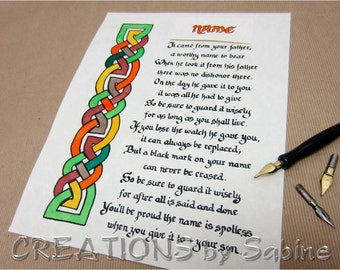 Family Name Poem WITH YOUR NAME, Irish Handwritten Calligraphy Original Art Celtic Knots Ready To Frame Letter Father Son Honor Pride