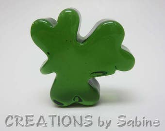 Glass Clover Shamrock Paperweight Collectible Home Decor Green St Patricks Day Gift Decoration Luck of the Irish Vintage FREE SHIPPING (583)