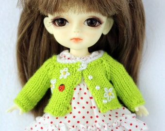 Green lime Sweater cardigan for Lati yellow / PukiFee bjd