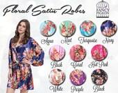 NAVY FLORAL SATIN Robe - Floral Bridal Robes - Silk Floral Robe - Dressing Gown - Bridesmaid Robe - Satin Kimono Robe - Floral Wedding Robes