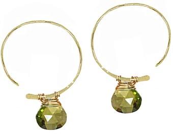 Open Hoop Earrings choice of gemstone Cleopatra 149