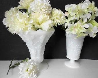 Vintage pedestal white milk glass vases, grape and leaf design nice for weddings and home decor