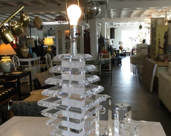 Fantastic Large lucite stacked lamp