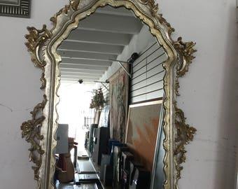 Hollywood Regency Silver Leaf Vintage Mirror