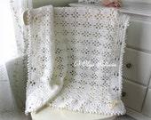 White Lace Baby Blanket Crochet Pattern, Baby Afghan, Baby Christening Shawl, Easy Crochet Pattern