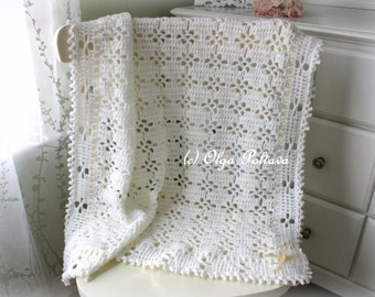 White Lace Baby Blanket Crochet Pattern, Baby Afghan, Baby Christening Shawl, Easy Crochet Pattern
