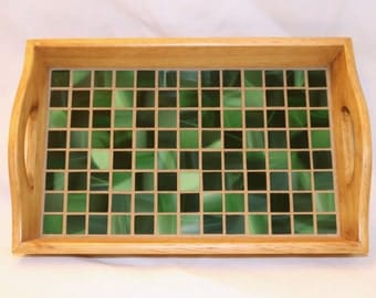 Green Glass Mosaic Wood Tray