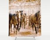 Custom Shower Curtain   Extra Long Shower Curtain   Horse Print   Rustic Decor   Custom Equine Bath Decor   Gift for Horse Lover Bath Decor