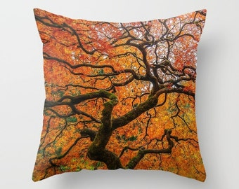 Throw Pillow | Throw Pillow Cover | Throw Pillow For Couch | Japanese Maple Tree Print | Decorative Throw Pillows | Home Decor | Dorm Decor