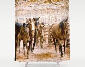 custom shower curtain extra long shower curtain horse print rustic decor custom