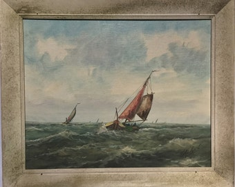 Oil Painting Sailboat Vintage Ocean Scene