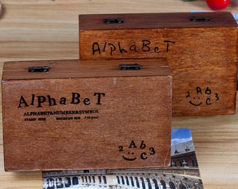 On Sale - Wooden Rubber Stamp Box - Vintage Print Style - Capital Alphabet Stamp and Number Stamp - 1 Set/70 Pcs