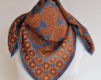 MISS DIOR silk scarf, 1950s silk scarf, French silk scarf, square silk scarf, hand rolled, ladies headscarf, 50s fashion, retro scarf square