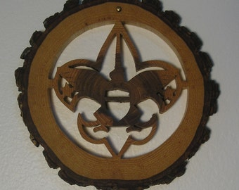 Boy Scout Emblem, on Hickory slice