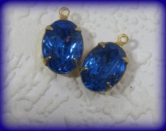 16MM, Swarovski Crystal, Sapphire, Blue,Oval, Rhinestone, Multi Faceted, Brass, 1 Ring, OB, 4 Prong, Setting, Charm, Drop, Vintage,