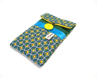 phone case green ethinc fabric , padded phone sleeve graphic patterned ,