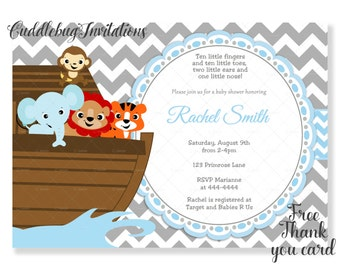 Blue And Grey Chevron Noahu0027s Ark Boy Baby Shower Invitation  Noah Ark Baby  Boy Shower