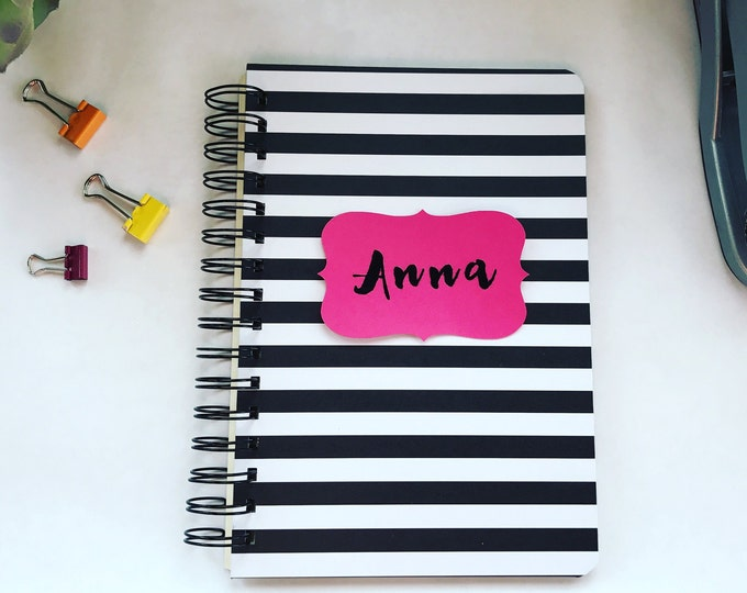 Featured listing image: Handmade Customizable Spiral Bound Address Book Black and White Stripes