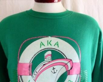 vintage 70's 80's AKA Yacht Club kelly green fleece graphic sweatshirt white pastel pink yacht boat nautical logo crew neck pullover Large