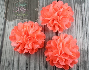 NEON CORAL EYELET Flowers, 4 inch Size, Price For 2+, Headband Flower, Headband Supply, Embellishment, Choose 2 or 4 Flowers Per Order
