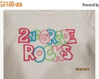 20% OFF Entire Shop 2ND GRADE Rocks Custom saying embroidered t-shirt or one piece w/snaps, kids boys girls