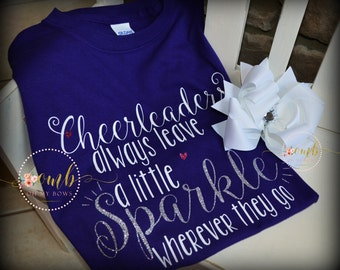 Cheerleaders always leave a little Sparkle wherever they go Youth T-Shirt / Cheer Shirt / M2M Bow / Spirit Shirt / Cheer T-Shirt / Tee Shirt
