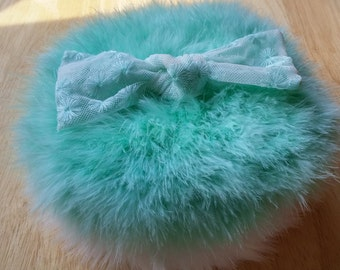 Marabou Feather Powder Puff (large size)  MINT GREEN with Lace Bow - READY to Ship