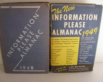 Vintage INFORMATION ALMANACS/2 Volumes/Forties Reference Books/Fact Check Books/Early Almanac Books/Vintage Information Books/Non Fiction