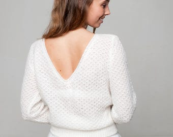 Bridal sweater lace with deeper back; look like a princess at your wedding in off white, ivory and more colours for boho and vintage wedding