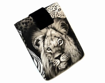 Tablet Case, Lion's Eye, iPad Cover, African, Tribal, Ethnic, 9 inch Tablet Sleeve, Cozy, Handmade, FOAM Padding, Nature, Animal Lover