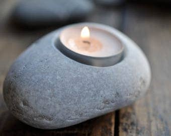 miniature flowerpot - stony candleholder