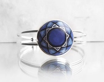 Unique Hand Painted Bracelet, Blue Bracelet, Cobalt Blue Hand Jewelry, Cuff Bracelet, Modern Geometric Design by Artdora