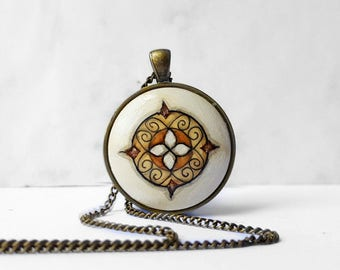 Hand Painted Pendant Necklace, Oriental Style Pattern Ornamental Pendant, Orient Jewelry, Beige Brown Necklace, Handmade by Artdora