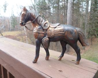 "Pot Metal Carnival Horse Figurine, Pot Metal Carnial Souviner Horse Figurine 5 1/2"" tall"