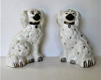 "Pair of vintage English Beswick Staffordshire ceramic dogs, gold and white, Wallie mantle dogs, 8"" tall, English Country decor, gift idea"