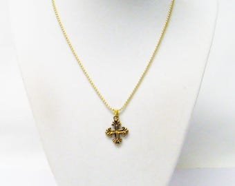 Gold Plated Budded Cross Pendant Necklace for Child