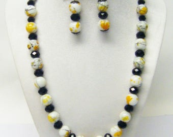 Yellow and White Black Spatter Round Glass Bead Necklace & Earrings Set