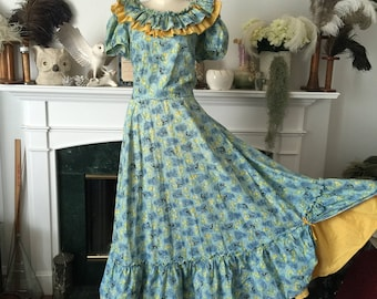 50s Farmers Haystack Novelty Print Patio Dress