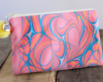 Hand Marbled Zip Pouch - Pink, Blue, Yellow Freestyle Hearts - item #7971