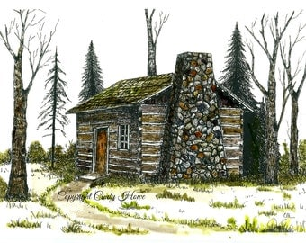 Log cabin print, country, cabin, landscape, cabins, pen and ink, stone chimney, old cabin, original Pen and Ink with watercolor