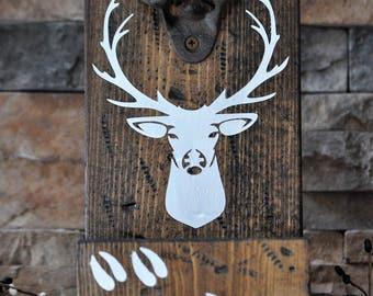 Rustic, Wooden Deer Beer Bottle Opener